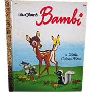 "Vintage Children's Little Golden Book - ""Walt Disney's Bambi"""