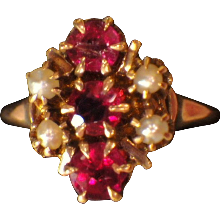 RESERVED - On Layaway - Antique Victorian 12K Gold, Spinel & Seed Pearl Ring