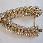 Vintage Signed Castlecliff Gold Tone and Rhinestone Bracelet
