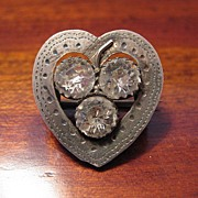 Antique Victorian Hallmarked Sterling Silver Sweetheart Brooch