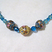 Vintage Venetian Wedding Cake Glass & Crystal Bead Necklace