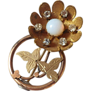 Vintage Edwardian Gold Fill, Opaline & Rhinestone Brooch