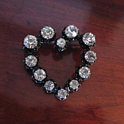 Vintage Signed Japanned Heart Rhinestone Brooch Made in Austria