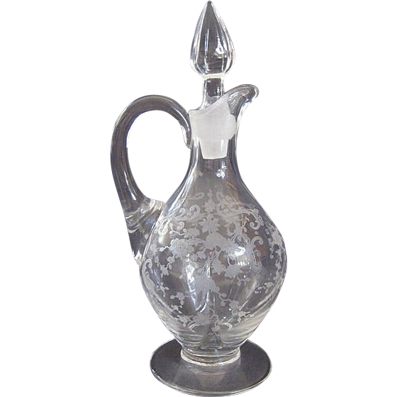 Hard to Find Vintage Cambridge Glass Chantilly Etch Cruet