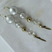 Vintage Silver Glass & Metal Dangle Pierced Earrings