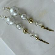 Vintage Silver Glass & Metal Dangle Pierced Earrings