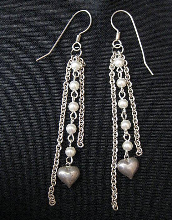 Vintage Long Dangle Sterling Silver & Faux Pearl Heart Earrings