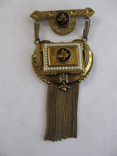 Vintage Gold Fill, Enamel, Seed Pearl & Tassel Brooch or Pendant