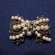 Vintage Small Gold Tone & Faux Seed Pearl & Rhinestone Wired Brooch or Pin