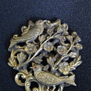 Antique Art Nouveau Birds & Flowers Dress Clip