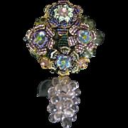 Vintage Signed Stanley Hagler Glass Grapes Dangle Brooch