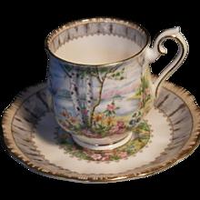 "Hard to Find Vintage Royal Albert ""Silver Birch"" Pattern Demitasse Cup & Saucer Set"