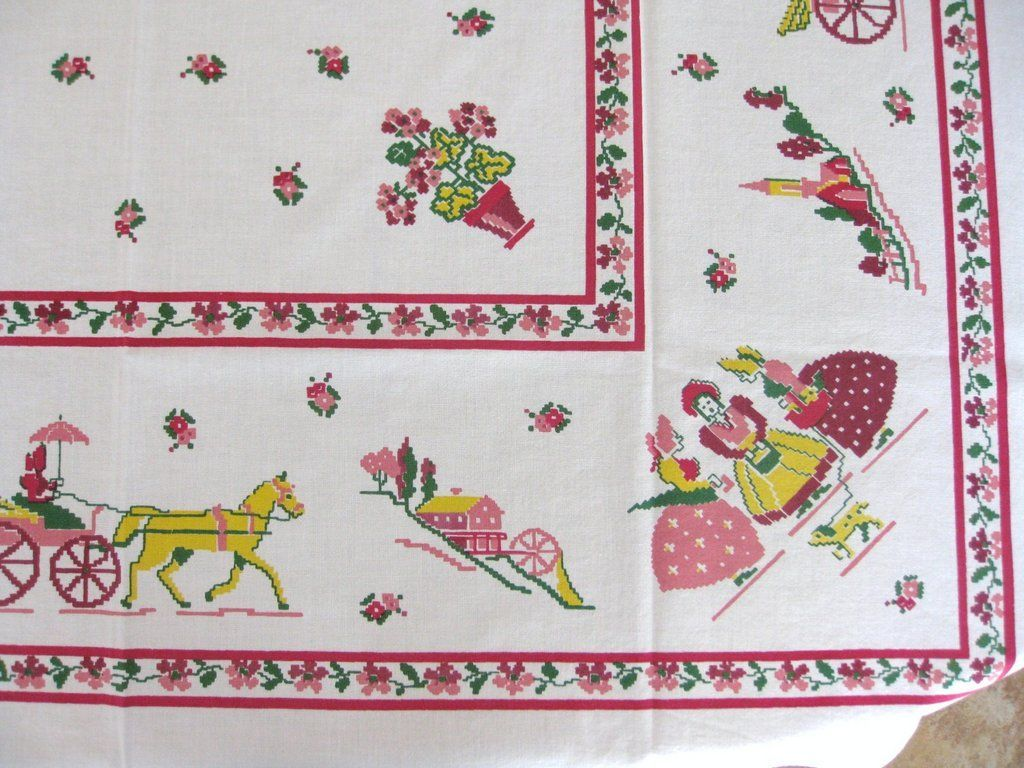 Vintage Startex Figural Print Tablecloth