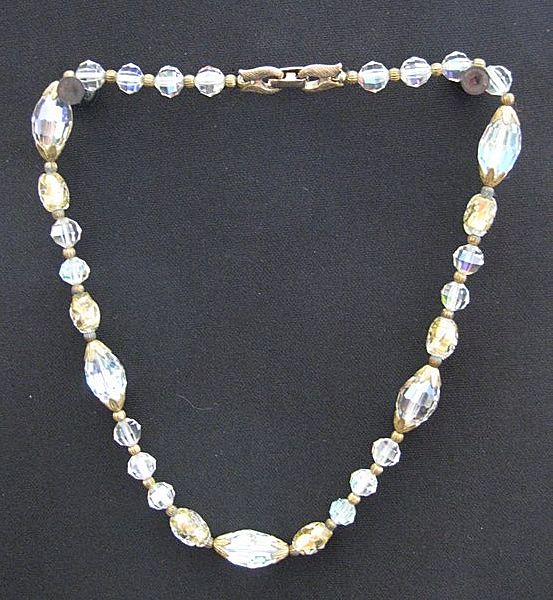 Vintage Cut Crystal & Gold Foil Bead Choker Necklace