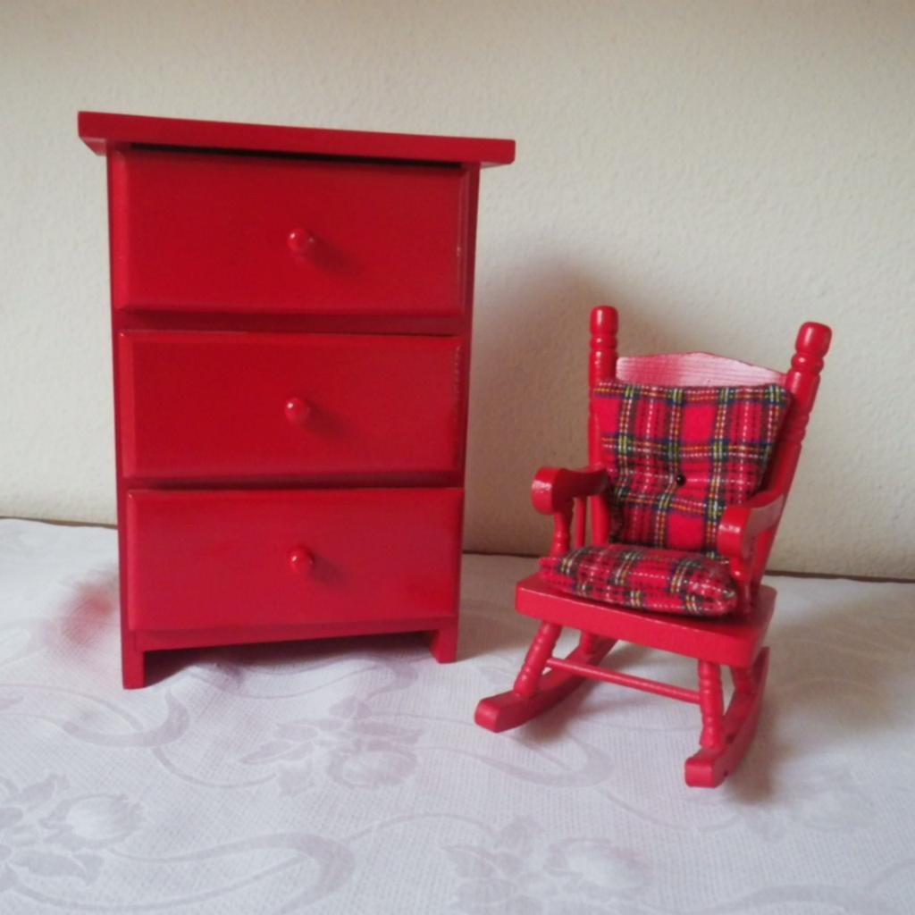 Vintage Red Painted Wood Doll Furniture From
