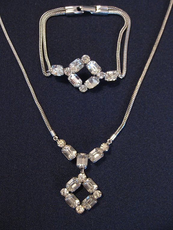 Vintage Demi Parure - Rhinestone Snake Chain Necklace & Bracelet Set