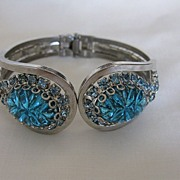 Vintage Signed Judy Lee Silvertone, Glass & Rhinestone Clamper Bracelet