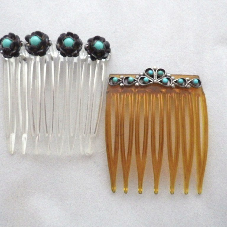 Vintage Set of Two Sterling Silver & Turquoise Hair Combs