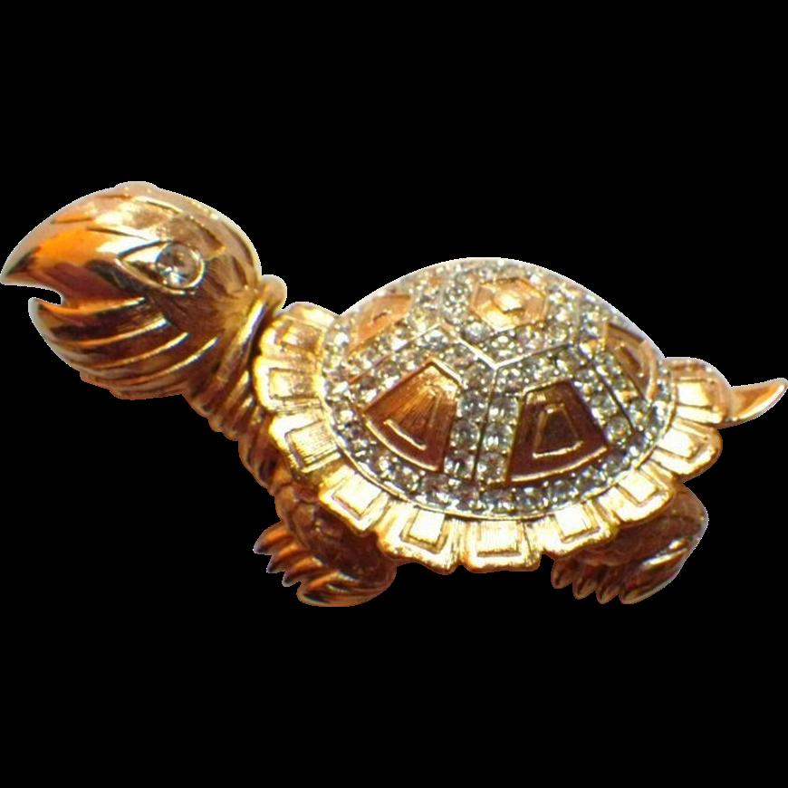Vintage Signed Marvella Goldtone & Rhinestone Tortoise Brooch