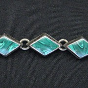 Vintage Signed Taxco Mexico Sterling Silver & Malachite Bracelet