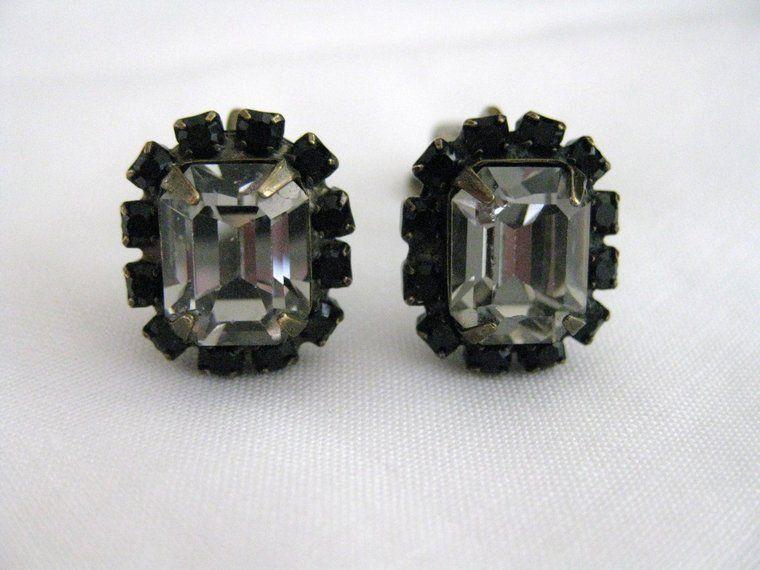 Vintage Signed Liz Palacios Swarovski Crystal Rhinestone Earrings