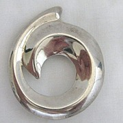 Vintage Signed Sterling Silver Taxco Mexico Modernist Style Brooch or Pendant
