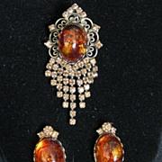 Vintage Signed Hobe Demi Parure Dangle Brooch or Pendant & Earrings Set