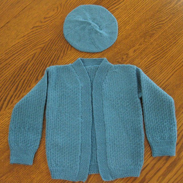 Vintage Child or Doll Hand Knit Cardigan Sweater & Matching Tam