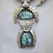 Vintage Signed Navajo Sterling Silver & Turquoise Pendant Necklace