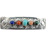 Vintage Signed Sterling Silver and Gemstone Hair Barrette
