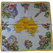 Vintage Australia Souvenir Handkerchief