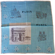Vintage Souvenir of Paris Handkerchief
