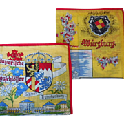 Vintage Pair of Germany Souvenir Handkerchiefs