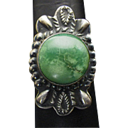 Vintage Sterling Silver and Green Turquoise Ring