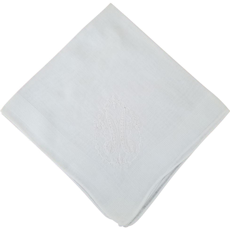 "Vintage Linen Monogram ""M"" Handkerchief"