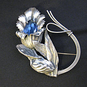 Vintage Signed Sterling Silver Large Flower Brooch