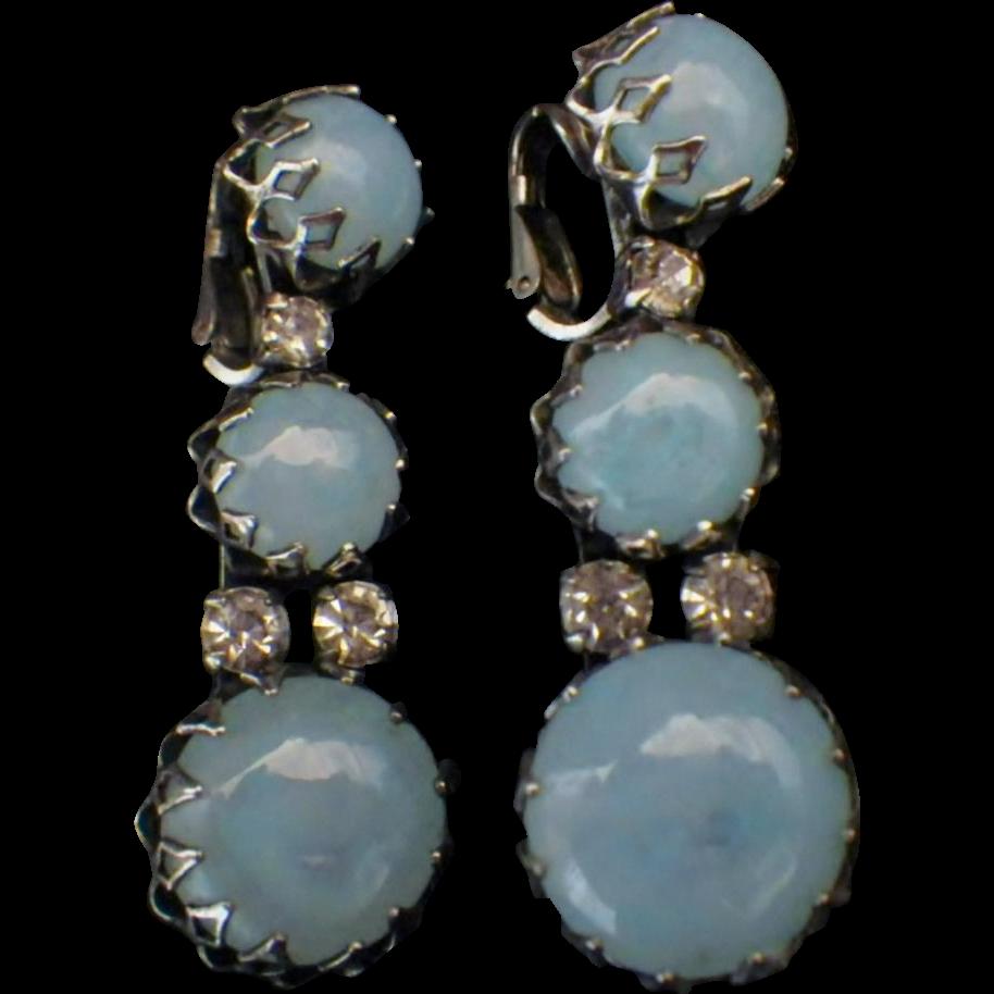 "Rare Vintage Signed ""Christian Dior by Kramer"" Blue Opaline Glass & Rhinestone Dangle Earrings"
