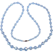Vintage Hand Cut Blue Aurora Borealis Crystal Bead Necklace