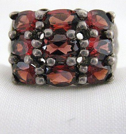 Vintage Signed Sterling Silver & Hessonite Garnet Ring