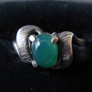 Vintage Signed Sterling Silver & Chrysoprase Ring