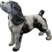Miniature Porcelain Black and White Spaniel Figurine