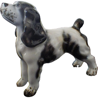 Miniature Porcelain Black and White Spaniel Figurine