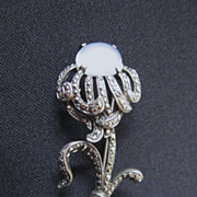Vintage Signed Sterling Silver, Moonstone & Marcasite Flower Brooch
