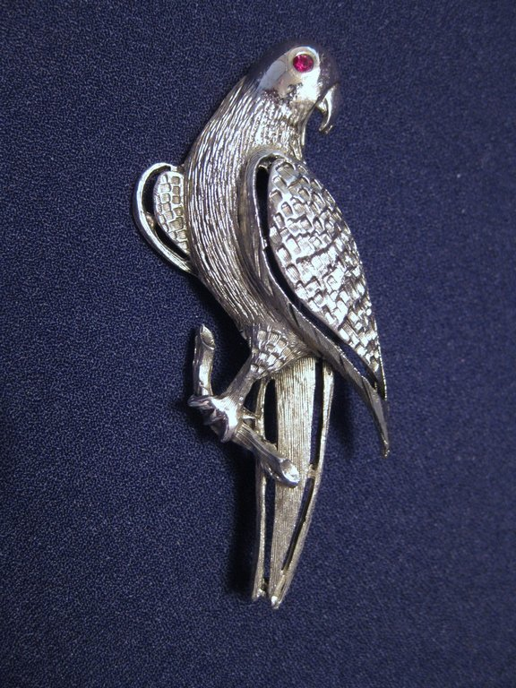 Vintage Signed Pell Silver Tone Parrot Bird Brooch or Pin