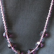 Vintage Hand Cut Amethyst Crystal Necklace