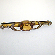 Antique Victorian 9K Gold, Citrine & Seed Pearl Brooch