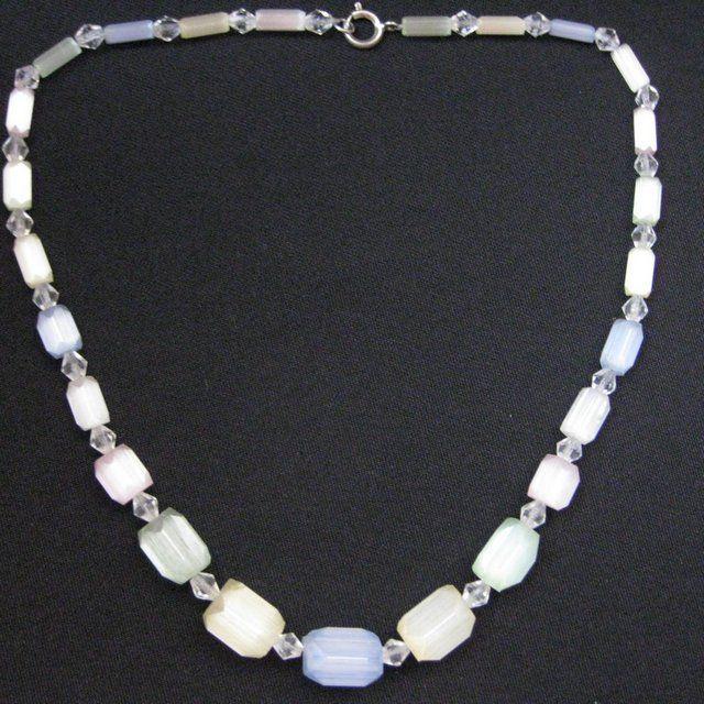 Vintage Hand Cut Czech Satin Glass Necklace