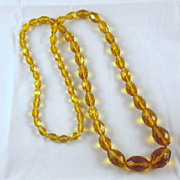 Vintage Golden Amber or Topaz Faceted Crystal Bead Necklace