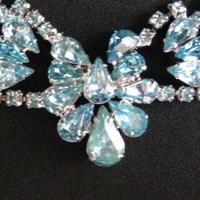 Vintage Aqua Blue Rhinestone Necklace