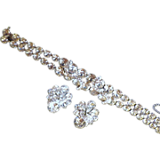 Vintage Signed Eisenberg Rhinestone Demi-Parure Bracelet & Earrings